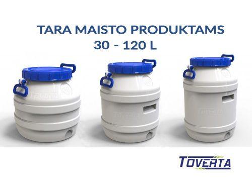 Maistinės talpos, plastikinės statinės: 10 – 120 l