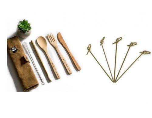 Natūrali kosmetika, ekologiški šiaudeliai, bambukiniai stalo įrankiai, tinkliniai krepšiai, servetėlės su vašku