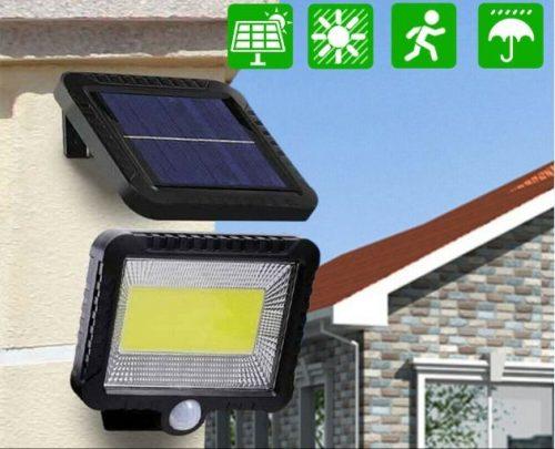 Naujas 100LED saulės įkraunamas šviestuvas su judesio jutikliu
