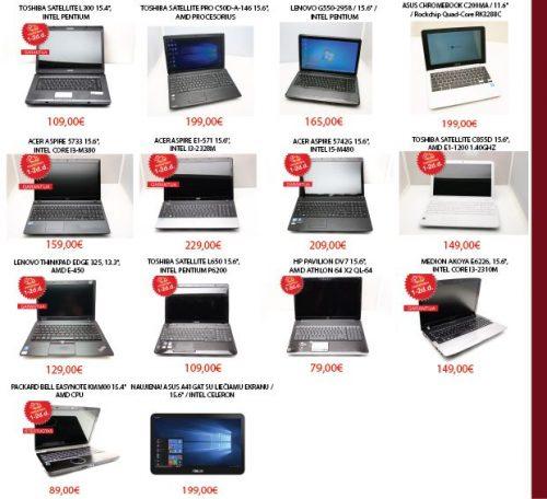 Naudoti nešiojami kompiuteriai su garantija